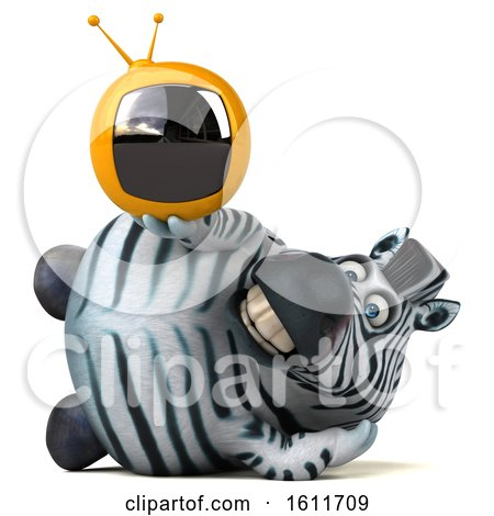 Clipart of a 3d Zebra Holding a Tv, on a White Background - Royalty Free Illustration by Julos