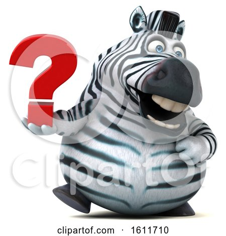 Clipart of a 3d Zebra Holding a Question Mark, on a White Background - Royalty Free Illustration by Julos
