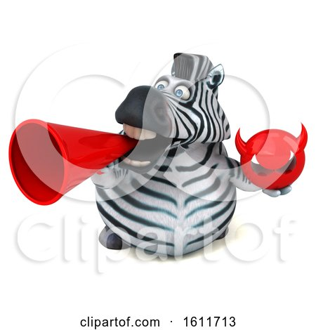 Clipart of a 3d Zebra Holding a Devil, on a White Background - Royalty Free Illustration by Julos