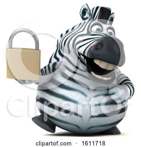 Clipart of a 3d Zebra Holding a Padlock, on a White Background - Royalty Free Illustration by Julos