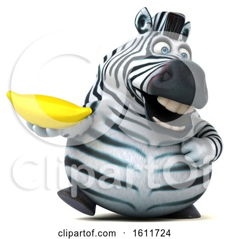 Clipart of a 3d Zebra Holding a Banana, on a White Background - Royalty Free Illustration by Julos