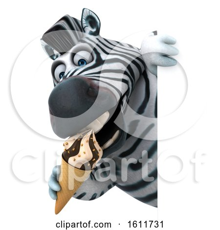Clipart of a 3d Zebra Holding a Waffle Cone, on a White Background - Royalty Free Illustration by Julos