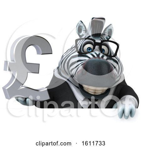 Clipart of a 3d Business Zebra Holding a Pound Currency Symbol, on a White Background - Royalty Free Illustration by Julos