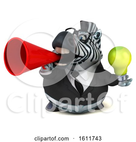 Clipart of a 3d Business Zebra Holding a Light Bulb, on a White Background - Royalty Free Illustration by Julos