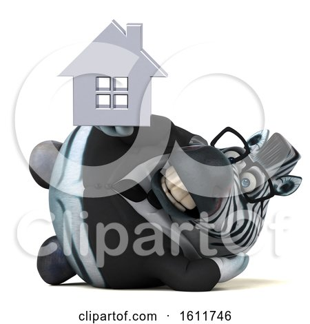 Clipart of a 3d Business Zebra Holding a House, on a White Background - Royalty Free Illustration by Julos