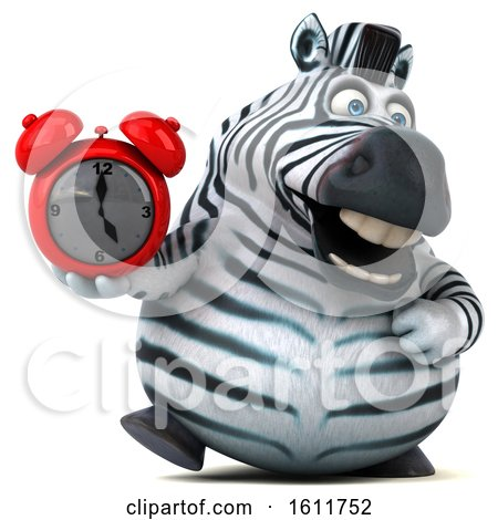 Clipart of a 3d Zebra Holding an Alarm Clock, on a White Background - Royalty Free Illustration by Julos