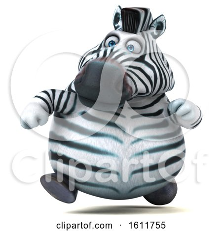 Clipart of a 3d Zebra Running, on a White Background - Royalty Free Illustration by Julos