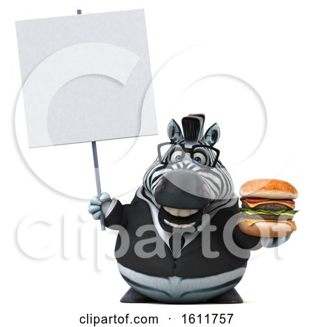 Clipart of a 3d Business Zebra Holding a Burger, on a White Background - Royalty Free Illustration by Julos