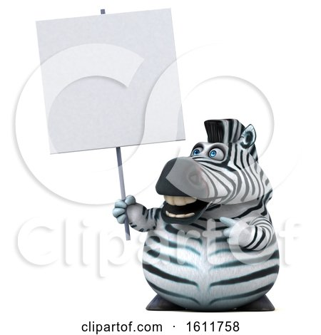 Clipart of a 3d Zebra Holding a Blank Sign, on a White Background - Royalty Free Illustration by Julos