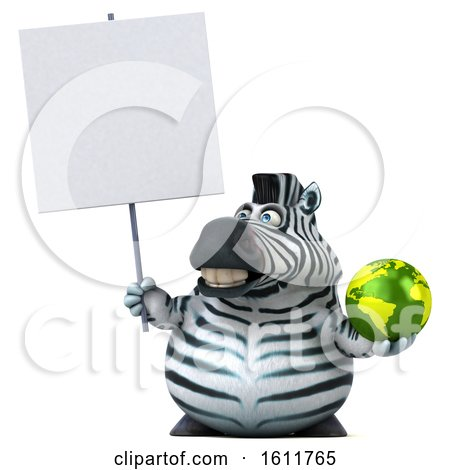 Clipart of a 3d Zebra Holding a Globe, on a White Background - Royalty Free Illustration by Julos