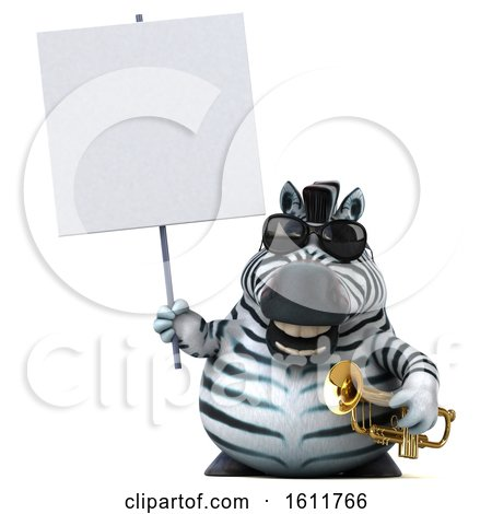 Clipart of a 3d Zebra Holding a Trumpet, on a White Background - Royalty Free Illustration by Julos