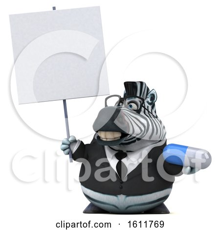 Clipart of a 3d Business Zebra Holding a Pill, on a White Background - Royalty Free Illustration by Julos