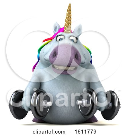Clipart of a 3d Chubby Unicorn Working out with Dumbbells, on a White Background - Royalty Free Illustration by Julos