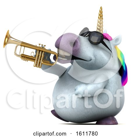 Clipart of a 3d Chubby Unicorn Playing a Trumpet, on a White Background - Royalty Free Illustration by Julos