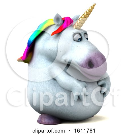 Clipart of a 3d Chubby Unicorn Facing Right, on a White Background - Royalty Free Illustration by Julos