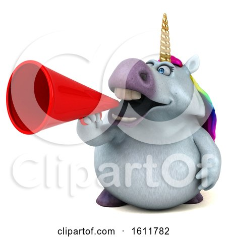Clipart of a 3d Chubby Unicorn Holding a Megaphone, on a White Background - Royalty Free Illustration by Julos