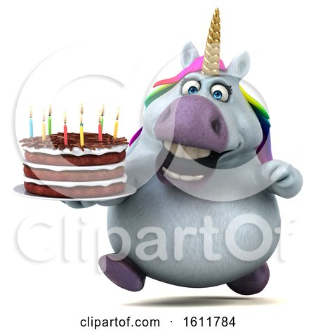 Clipart of a 3d Chubby Unicorn Holding a Birthday Cake, on a White Background - Royalty Free Illustration by Julos