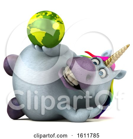 Clipart of a 3d Chubby Unicorn Holding a Globe, on a White Background - Royalty Free Illustration by Julos