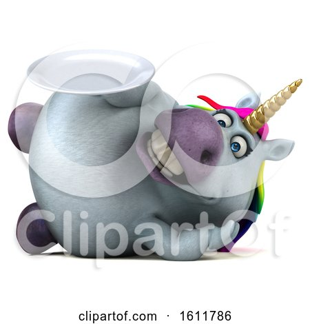 Clipart of a 3d Chubby Unicorn Holding a Plate, on a White Background - Royalty Free Illustration by Julos