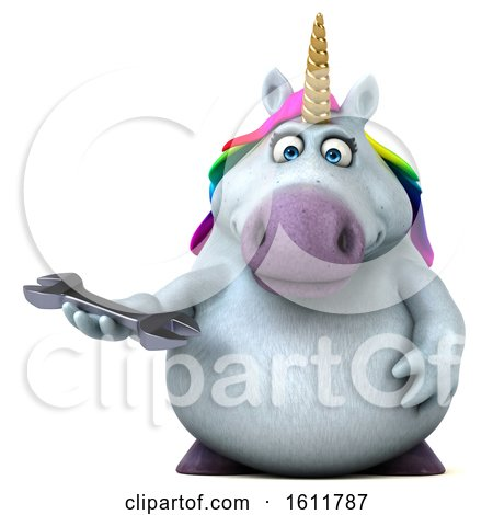 Clipart of a 3d Chubby Unicorn Holding a Wrench, on a White Background - Royalty Free Illustration by Julos