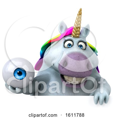 Clipart of a 3d Chubby Unicorn Holding an Eyeball, on a White Background - Royalty Free Illustration by Julos