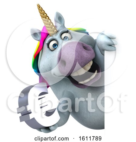 Clipart of a 3d Chubby Unicorn Holding a Euro, on a White Background - Royalty Free Illustration by Julos