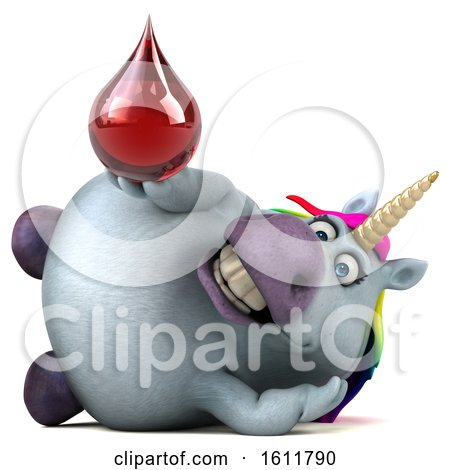 Clipart of a 3d Chubby Unicorn Holding a Blood Drop, on a White Background - Royalty Free Illustration by Julos