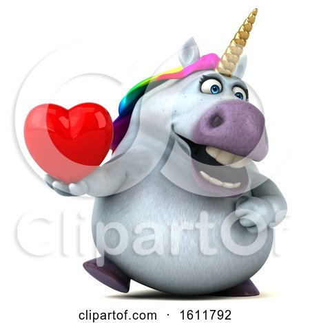 Clipart of a 3d Chubby Unicorn Holding a Heart, on a White Background - Royalty Free Illustration by Julos