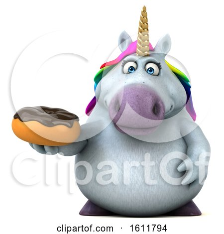 Clipart of a 3d Chubby Unicorn Holding a Donut, on a White Background - Royalty Free Illustration by Julos