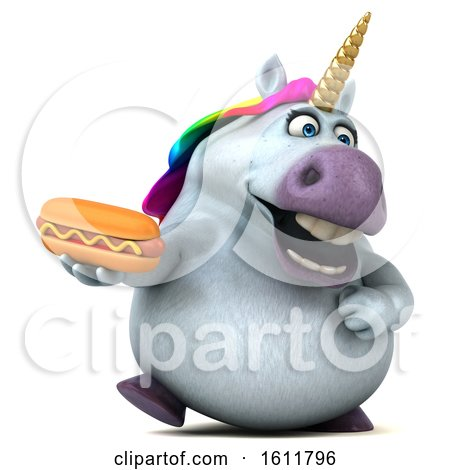 Clipart of a 3d Chubby Unicorn Holding a Hot Dog, on a White Background - Royalty Free Illustration by Julos