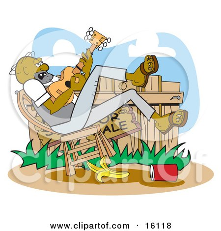 African American Hillbilly Man Leaning Back In A Chair And Playing A Banjo With A Banana And Can At His Feet Clipart Illustration by Andy Nortnik