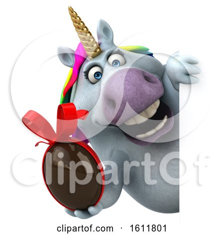 Clipart of a 3d Chubby Unicorn Holding a Chocolate Egg, on a White Background - Royalty Free Illustration by Julos