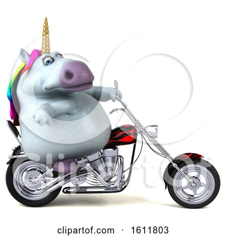 Clipart of a 3d Chubby Unicorn Biker Riding a Chopper Motorcycle, on a White Background - Royalty Free Illustration by Julos