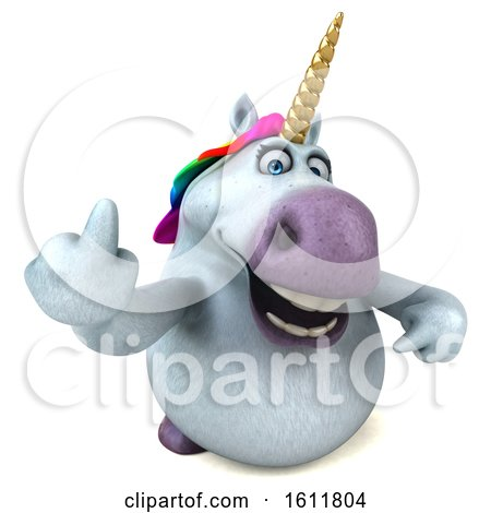 Clipart of a 3d Chubby Unicorn Holding up a Middle Finger, on a White Background - Royalty Free Illustration by Julos
