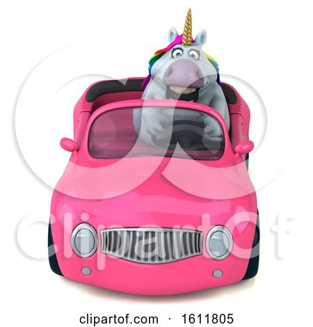 Clipart of a 3d Chubby Unicorn Driving a Convertible, on a White Background - Royalty Free Illustration by Julos