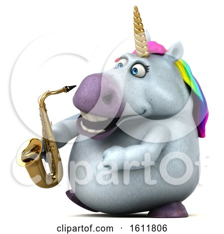 Clipart of a 3d Chubby Unicorn Holding a Saxophone, on a White Background - Royalty Free Illustration by Julos