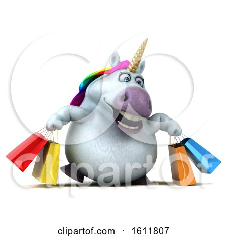 Clipart of a 3d Chubby Unicorn Carrying Shopping Bags, on a White Background - Royalty Free Illustration by Julos