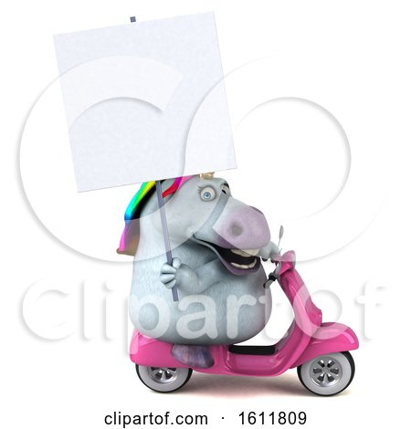 Clipart of a 3d Chubby Unicorn Riding a Scooter, on a White Background - Royalty Free Illustration by Julos