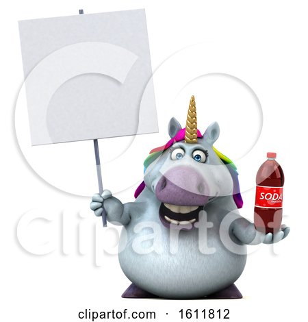 Clipart of a 3d Chubby Unicorn Holding a Soda, on a White Background - Royalty Free Illustration by Julos