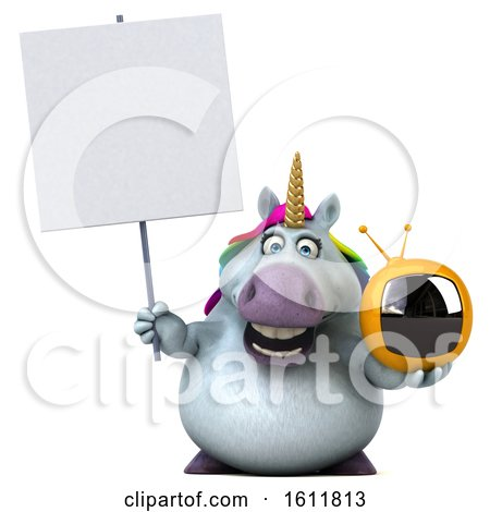 Clipart of a 3d Chubby Unicorn Holding a Tv, on a White Background - Royalty Free Illustration by Julos