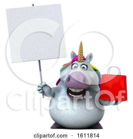 Clipart of a 3d Chubby Unicorn Holding a Shopping Bag, on a White Background - Royalty Free Illustration by Julos
