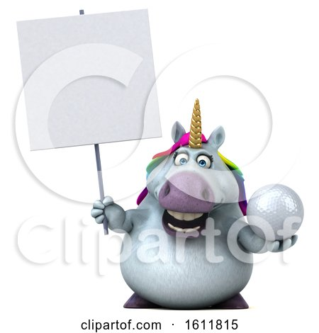Clipart of a 3d Chubby Unicorn Holding a Golf Ball, on a White Background - Royalty Free Illustration by Julos