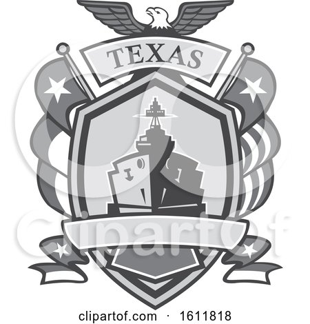 Clipart of a Grayscale Retro Bald Eagle Crest with a Battle Ship, State and Texas Navy Flags Flags - Royalty Free Vector Illustration by patrimonio