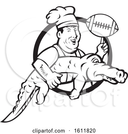 Clipart of a Retro Black and White Male Chef Twirling a Football on His Finger and Carrying an Alligator - Royalty Free Vector Illustration by patrimonio