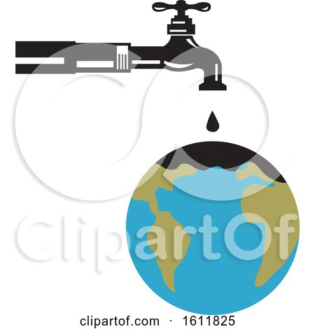 Clipart of a Water Faucet Dripping Oil on a World Globe - Royalty Free Vector Illustration by patrimonio