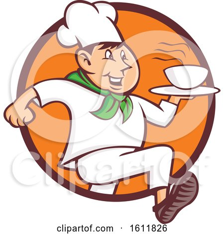 Clipart of a Quick Chef Running with a Bowl of Hot Soup - Royalty Free Vector Illustration by patrimonio