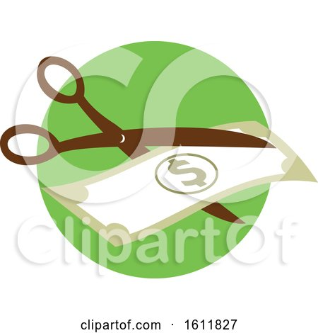 Clipart of a Pair of Scissors Cutting a Dollar Bill in Half - Royalty Free Vector Illustration by patrimonio