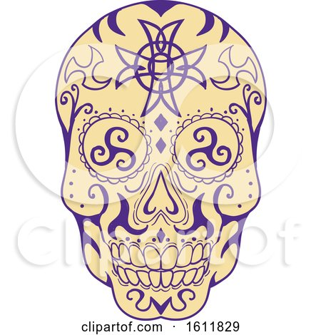 Clipart of a Mexican Skull with Triskele and Celtic Cross - Royalty Free Vector Illustration by patrimonio