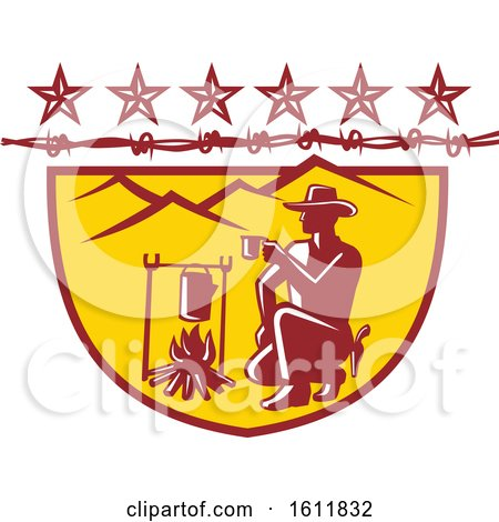 Clipart of a Cowboy or Rustler Drinking Coffee by Campfire with Mountains and Barbed Wire - Royalty Free Vector Illustration by patrimonio