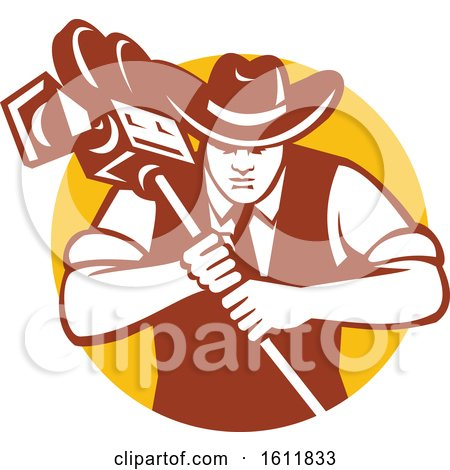 Clipart of a Cowboy Camera Man Holding a Movie Camera - Royalty Free Vector Illustration by patrimonio